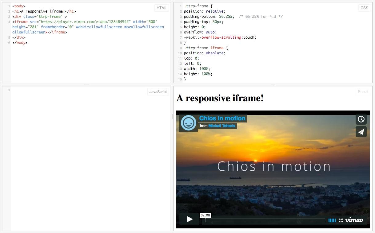 Δημιουργήστε responsive iframes, κατάλληλα για κινητά και tablet